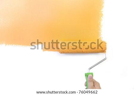 Painting - Home Improvement / Orange / isolated on white background - stock photo