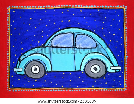 Painting/ illustration of blue Volkswagen bug car. I am the artist and hold the copyright. - stock photo