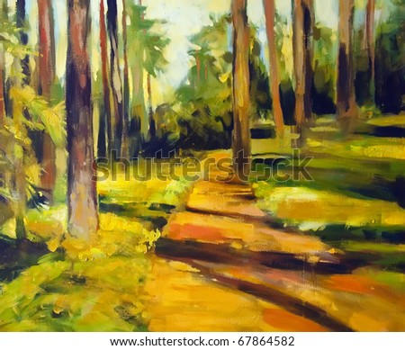 painting illustration of path in the forest - stock photo