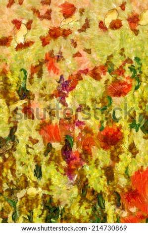 Painting  image showing the colours of the leaves in the Autumn - stock photo