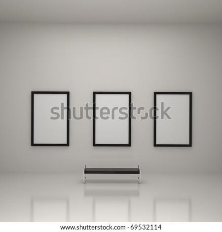 Painting Inside Art Gallery  Interior - 3d illustration - stock photo