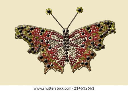 painting of a butterfly with colored drops - stock photo