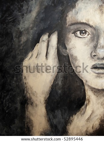 painting of a face - stock photo