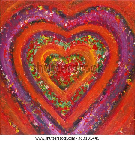Painting of a heart in vibrant colors.
