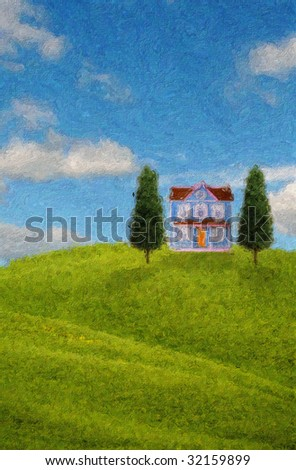 Painting of a house on the hills with two trees on a sunny day - stock photo