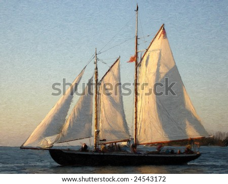 painting of a sail ship at sunset in oil technique made on a computer