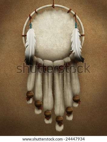 painting of a traditional Native American dream catcher decorated with fur and feathers - stock photo