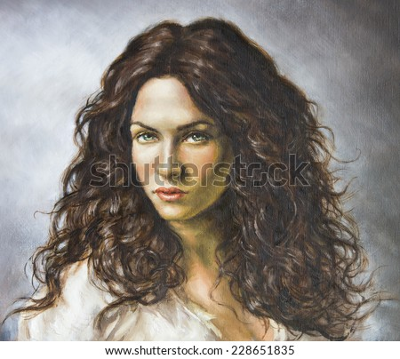 painting of a young woman - stock photo