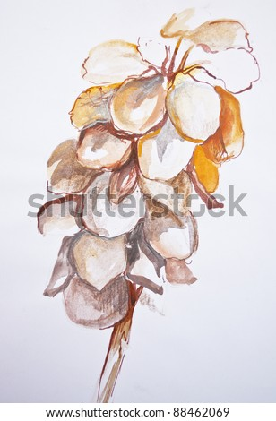 Painting of abstract orange flower - stock photo