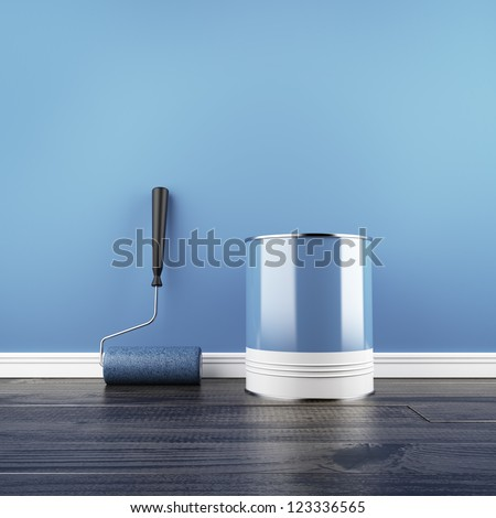 Painting of an empty blue wall. 3d render - stock photo
