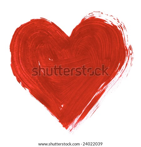 Painting of big red heart over white background - stock photo