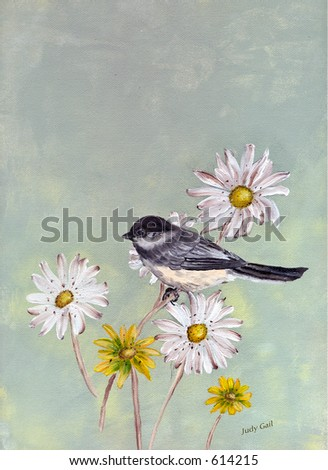Painting of Black Capped Chickadee on Daisies by Judy Gail - stock photo
