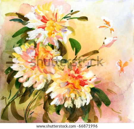 Painting of bright flowers with bright butterflies flying above - stock photo
