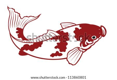 painting of carp fish on white background - stock photo
