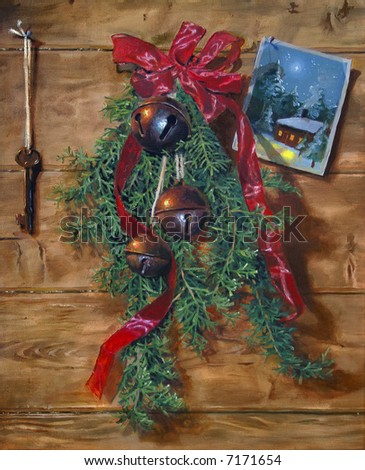 Painting of Christmas Hangings - stock photo