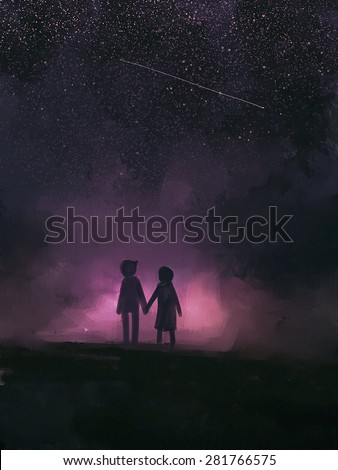 painting of couples holding hands under the stars. - stock photo
