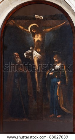 painting of Crucifixion with St.Joseph and Magdalene - Sicily - seventeenth century - stock photo