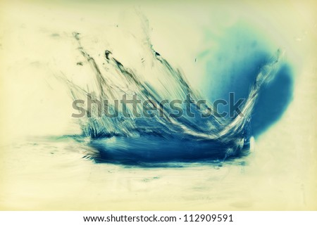Painting of fresh water splash. Vintage, stylized in blue, oil. - stock photo