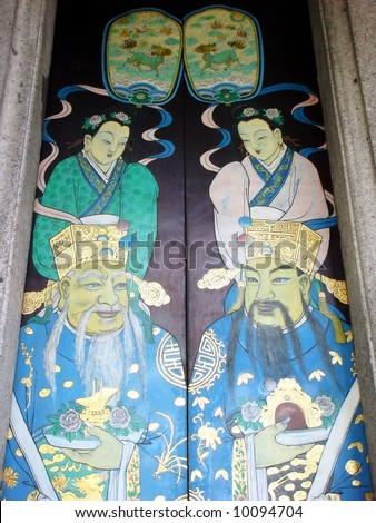 Painting of God of fortune on temple's wooden door