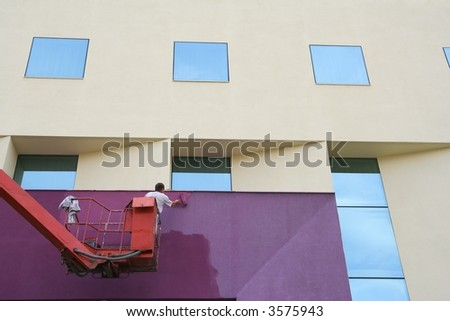 Painting of hotels wall - stock photo