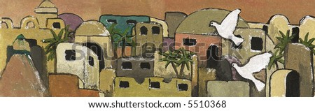 Painting of Jerusalem with Doves - stock photo