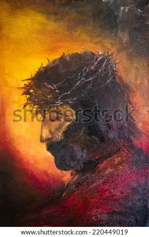 Painting of jesus christ before His death. JC. Symbol of salvation, love and peace. Son of God. He was crucified by people in Jerusalem. Israel. Oil Painting. Portrait.  - stock photo