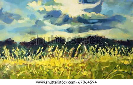 painting of meadow and mountains - stock photo