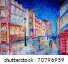 Painting of night city street with people, rain umbrellas and light. London. - stock photo