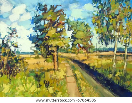painting of path and trees - stock photo