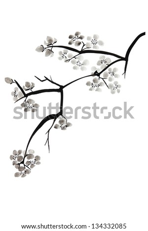 Painting of plum blossom in Chinese technique - stock photo
