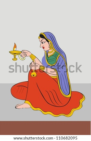Painting of Praying Lady With Oil Lamp In India - stock photo