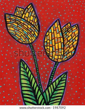 Painting of Retro Tiki Tulips. I  am the artist. - stock photo