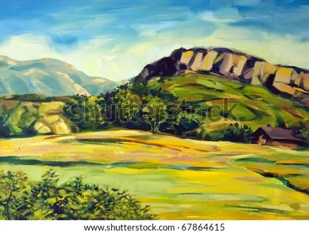 painting of rural mountain scene - stock photo