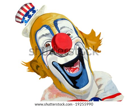 Painting of smiling patriotic American clown, Uncle Sam. - stock photo