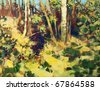 painting of the deep forest - stock photo