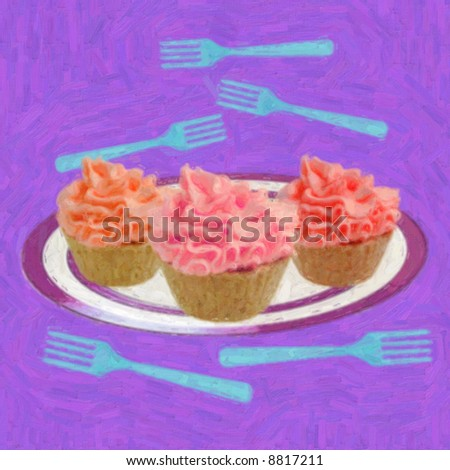 Painting of three cupcakes on a plate with forks all around - stock photo