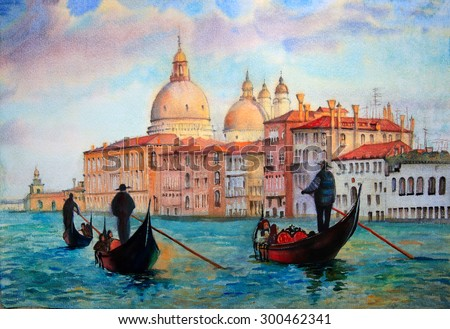 Painting of Venice Italy, painted by watercolor - stock photo