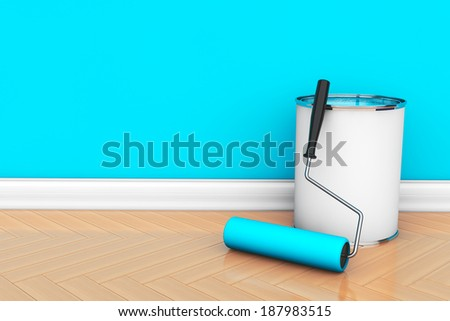 Painting of walls in a blue color. Paint can with roller brush - stock photo