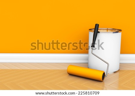 Painting of walls in a orange color. Paint can with roller brush - stock photo