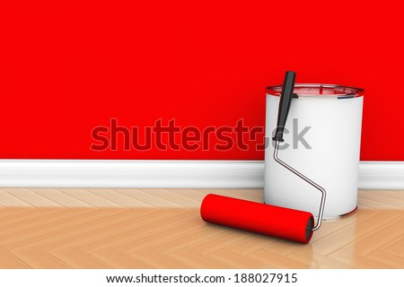 Painting of walls in a red color. Paint can with roller brush - stock photo