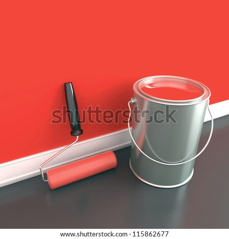 painting of walls in a red paint decorating of house 3d illustration - Painting Walls Red