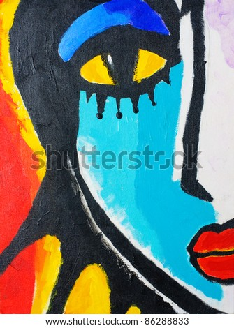 painting of woman face on canvas board. painted by me. - stock photo