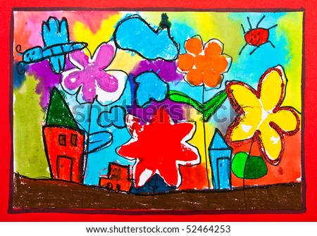 Painting of 5 years old child - stock photo