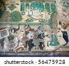 painting on a wall mural in Bundi palace, india - stock photo