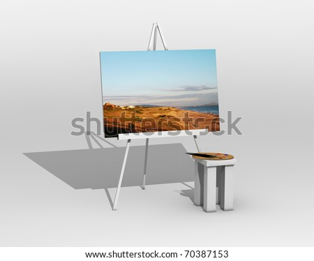 painting on easel - stock photo
