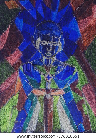 Painting on old paper. Mosaic color background. Joan of Arc symbolic. Warrior woman concept. Woman with sword. - stock photo