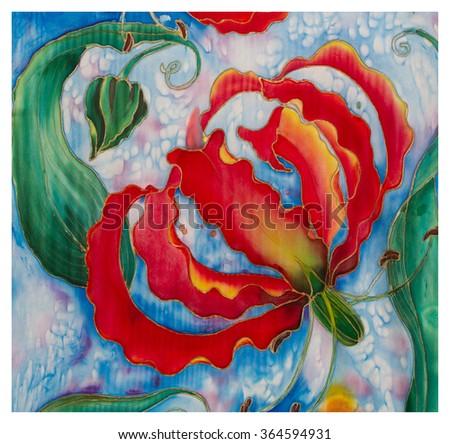 Painting on silk flowers buds gloriosa asian stock illustration painting on silk flowers and buds gloriosaian african flower batik mightylinksfo