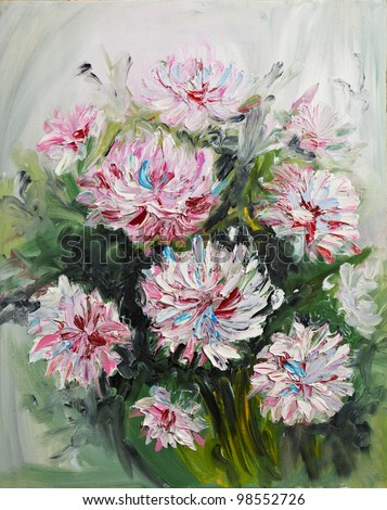 Painting picture of blooming peony Bouquet oil painted on canvas - stock photo