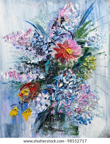 Painting picture of blooming spring Bouquet oil painted on canvas - stock photo
