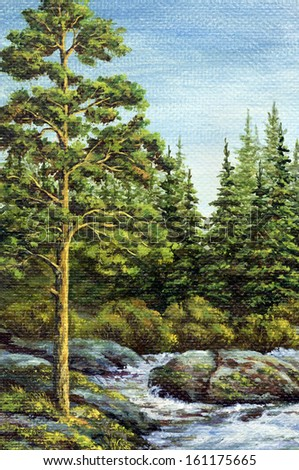 Painting, picture oil paints on a canvas. Landscape, mountain river. Altai, Russia - stock photo